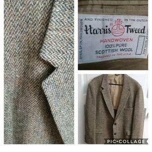 Harris Tweed Herringbone Tan/Brown Blazer Size 46L